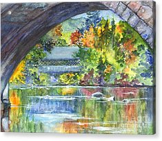 A Covered Bridge In Autumn's Splendor Acrylic Print by Carol Wisniewski