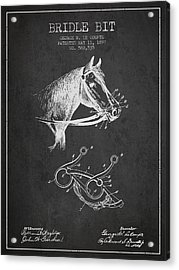 Bridle Bit Patent From 1897 - Charcoal Acrylic Print by Aged Pixel