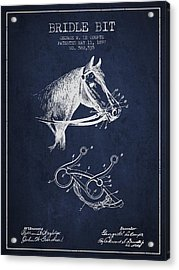 Bridle Bit Patent From 1897 - Navy Blue Acrylic Print by Aged Pixel