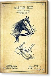 Bridle Bit Patent From 1897 - Vintage Acrylic Print by Aged Pixel
