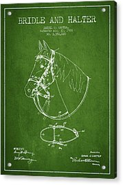Bridle Halter Patent From 1920 - Green Acrylic Print by Aged Pixel