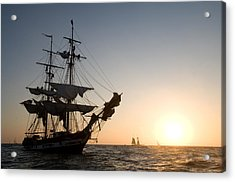 Brig Pilgrim At Sunset Acrylic Print by Cliff Wassmann