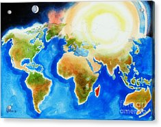 Bright Blue World Map In Watercolor With Sunshine And Moon  Acrylic Print by Kip DeVore