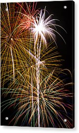 Bright Bursts Of Fireworks Acrylic Print by Garry Gay