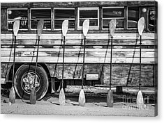 Bright Colored Paddles And Vintage Woodie Surf Bus - Florida - Black And White Acrylic Print by Ian Monk