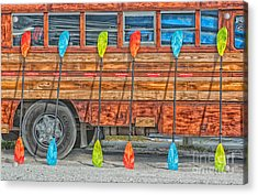 Bright Colored Paddles And Vintage Woodie Surf Bus - Florida - Hdr Style Acrylic Print by Ian Monk