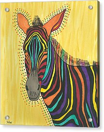 Acrylic Print featuring the painting Bright Lite African Zebra  by Susie Weber