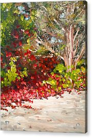 Acrylic Print featuring the painting Bright Red By The Beach by Ray Khalife