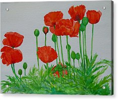 Red Poppies Colorful Flowers Original Art Painting Floral Garden Decor Artist K Joann Russell Acrylic Print