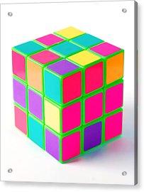 Bright Rubix Acrylic Print by Kenneth Feliciano