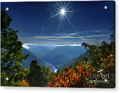 Acrylic Print featuring the photograph Bright Sun In Morning Cheat River Gorge by Dan Friend
