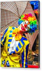 Brightly Dressed Clown With Umbrella Acrylic Print