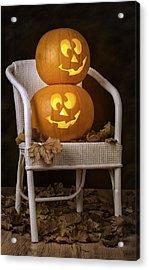 Brightly Lit Jack O Lanterns Acrylic Print by Amanda Elwell