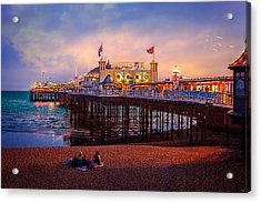 Acrylic Print featuring the photograph Brighton's Palace Pier At Dusk by Chris Lord