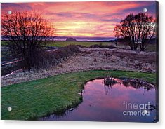 Brilliant Sunset With Pond Landscape Acrylic Print