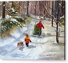 Bringing Home The Christmas Tree Acrylic Print by Carole Powell