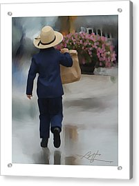 Acrylic Print featuring the painting Brining It Home To Mom by Bob Salo