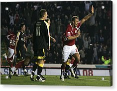 Bristol City V Cardiff City Acrylic Print by Christopher Lee