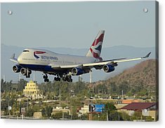 British Airways Boeing 747-436 G-bnlx Landing Phoenix Sky Harbor March 10 2015 Acrylic Print by Brian Lockett