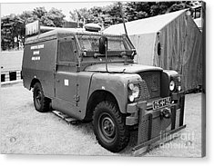 British Army Armoured Land Rover At Grey Point Fort Helens Bay County Down Northern Ireland Acrylic Print by Joe Fox