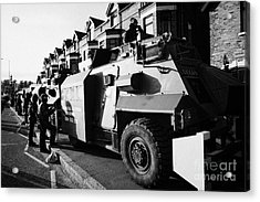 British Army Armoured Saxon Personnel Carrier Vehicle On Crumlin Road At Ardoyne Shops Belfast 12th  Acrylic Print