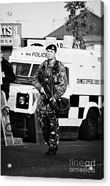 British Army Soldier At Psni Landrover On Crumlin Road At Ardoyne Shops Belfast 12th July Acrylic Print by Joe Fox