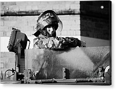 British Army Soldier In Hatch Of Armoured Land Rover On Crumlin Road At Ardoyne Shops Belfast 12th J Acrylic Print by Joe Fox