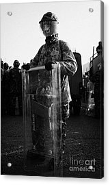 British Army Soldier In Riot Gear Stands Guard On Crumlin Road At Ardoyne Shops Belfast 12th July Acrylic Print