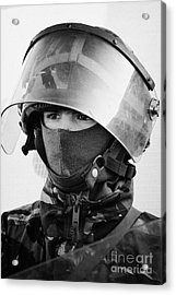 British Army Soldier With Helmet And Riot Gear On Crumlin Road At Ardoyne Shops Belfast 12th July Acrylic Print