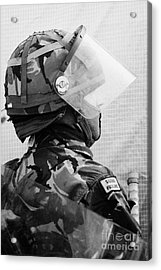 British Army Soldier With Helmet Riot Gear On Crumlin Road At Ardoyne Shops Belfast 12th July Acrylic Print
