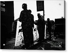 British Army Soldiers In Riot Gear With Shields Backlit Silhouette Beneath Protest Sign On Crumlin R Acrylic Print