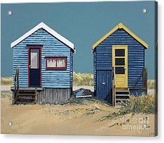 British Beach Huts Acrylic Print by Linda Monk