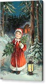 British Christmas Card Acrylic Print by English School