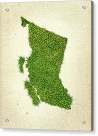 British Columbia Grass Map Acrylic Print by Aged Pixel