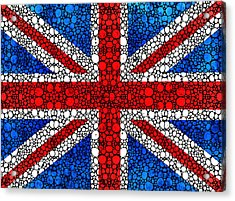 British Flag - Britain England Stone Rock'd Art Acrylic Print by Sharon Cummings
