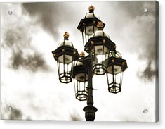 British Street Lamp Against Cloudy Sky Acrylic Print
