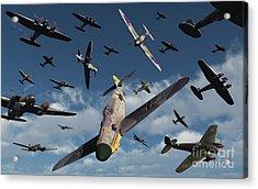 British Supermarine Spitfires Attacking Acrylic Print by Mark Stevenson