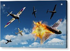 British Supermarine Spitfires Battle Acrylic Print by Mark Stevenson
