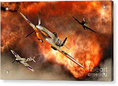 British Supermarine Spitfires Bursting Acrylic Print by Mark Stevenson