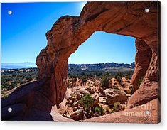 Acrylic Print featuring the photograph Broken Arch Under Blue Sky by Peta Thames