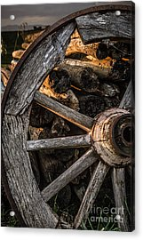 Broken Cart Wheel With Missing Spoke And Logs On A Farm At Pacia Acrylic Print
