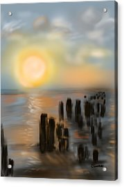 Acrylic Print featuring the digital art Broken Dock by Christine Fournier