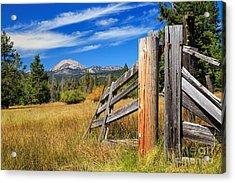 Broken Fence And Mount Lassen Acrylic Print