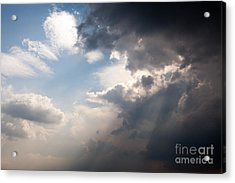 Broken Rain Clouds With Blue Sky And Sun Streaming Through Cloud Acrylic Print