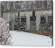 Broken Windows In The Snow Acrylic Print by Sharon Costa
