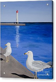Acrylic Print featuring the painting Bronte Lighthouse Gulls In Oil by Laurel Best