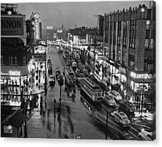 Bronx Fordham Road At Night Acrylic Print by Underwood Archives