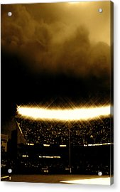 Bronx Storm Yankee Stadium  Acrylic Print by Iconic Images Art Gallery David Pucciarelli