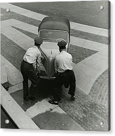 Bronx Zoo Workers With A Car Acrylic Print