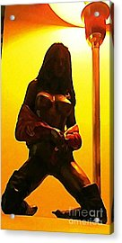 Bronze Cast Of Stripper With Lamp Pole  Acrylic Print by John Malone